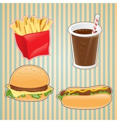 Fast food icon of burger french-fry and drink vector
