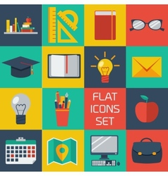 Flat colorful icons set vector image