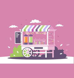 Flat street shop sweets stall with menu and vector