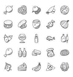 Food and vegetables doodles set vector