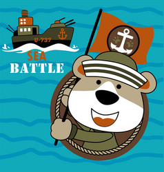 Funny bear navy army with warship on blue sea vector