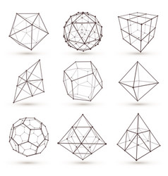 geometric 3d objects vector image