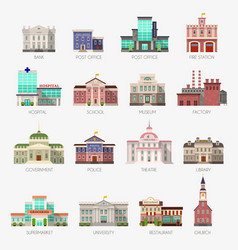 government houses municipal office bank vector image
