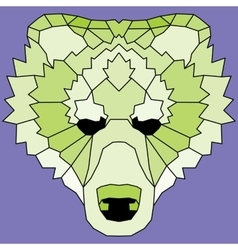 Green low poly lined bear vector image