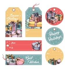 Greeting tags and labels vector image