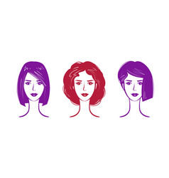 hairdressing salon makeup logo portrait of vector image