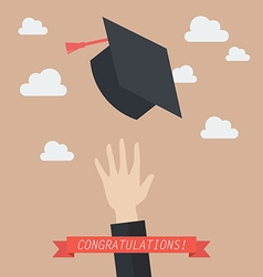 Hand of graduate throwing graduation hats in the vector image