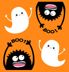 Happy halloween card two flying ghost spirit vector