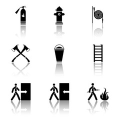 Image of fire extinguishing icons - fire vector