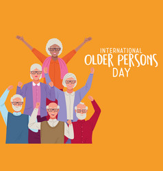 International older persons day lettering vector