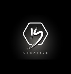 is i s brushed letter logo design with creative vector image