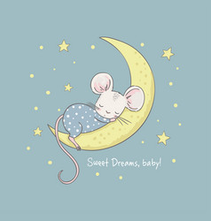 little mouse on moon cartoon vector image