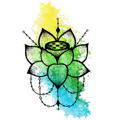 Lotus flower with string of beads vector