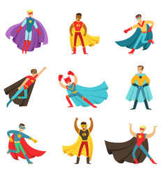 Male superheroes in classic comics costumes vector