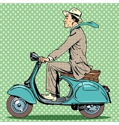 man rides on a vintage scooter vector image