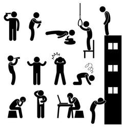 Man suicide kill desperate death stress sad a set vector