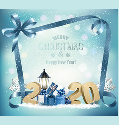 merry christmas background with 2020 and gift vector image