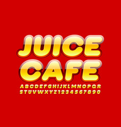 modern sign juice cafe with bright alphabet vector image