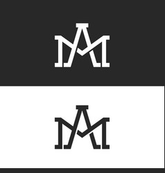 monogram initials am or ma letters logo design vector image