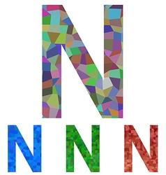Mosaic font design - letter N vector