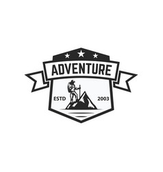 Mountain camp emblem template design element for vector