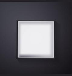 Open black empty gift box on dark background top vector