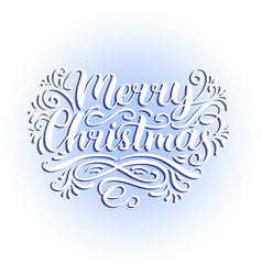 ornate merry christmas lettering background vector image