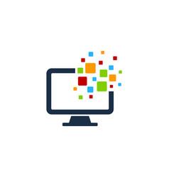 Pixel computer logo icon design vector
