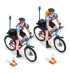 Police bicycle vehicle man and woman cops vector