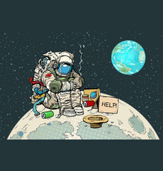 poor hungry astronaut on the moon vector image