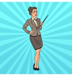 Pop Art Business Woman with Pointer Stick vector image