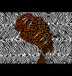 Portrait african woman in traditional turban zebra vector
