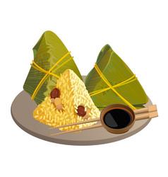 rice dumplings zongzi asian food isolated vector image