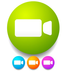 round icon with small compact video camera vector image