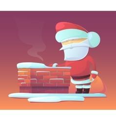 Santa Claus near chimney vector