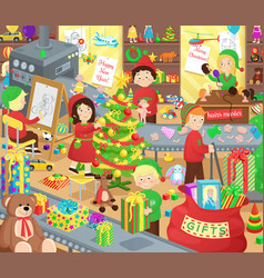 Santa claus presents factory with little helpers vector