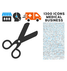 scissors icon with 1300 medical business icons vector image