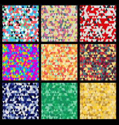 seamless patterns from triangles set of different vector image