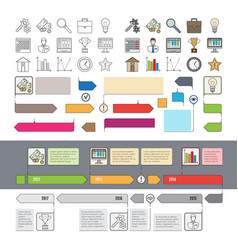 set of timeline icons with infographic diagrams vector image