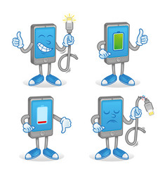 set smartphone with battery charge vector image