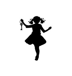 Silhouette girl with key in her hand vector