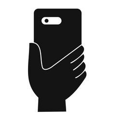smartphone in hand icon simple style vector image