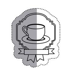 Sticker shading silhouette border heraldic vector
