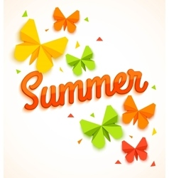 Summer Sale Banner with paper butterfly and vector image