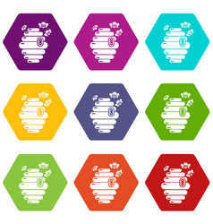 swarm icons set 9 vector image