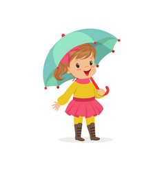 Sweet little girl in warm clothing walking with vector