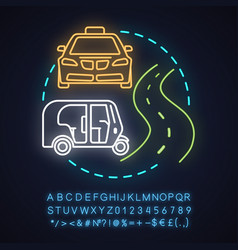 Taxi service neon light concept icon vector