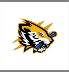 Tiger byte pencil mascot logo vector
