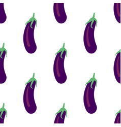 Vegetable seamless pattern with eggplants on a vector