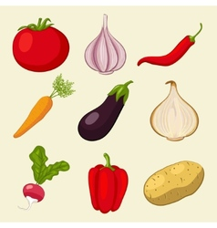 Vegetables icons set vector